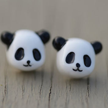 Panda Bear Stud Earrings : Black and White Panda Stud Earrings, Sterling Silver Plated Posts, Simple, Fun, Animal, Zoo, Asia, Asian, Cute