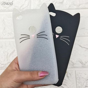 3D Cartoon Smile Cases Black Cat Ears Beard Soft Silicone Case For Huawei  P9 P10 Plus p8 p9 Lite 2017 5.2 Rubber Cover cases