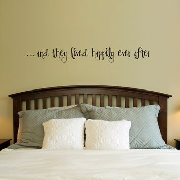 Happily Ever After Wall Decal - Couple Bedroom Decor - Decal Quote - Large