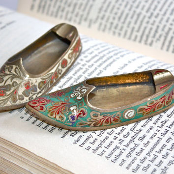 Brass Turkish Slippers / Pair / Desk Accessories