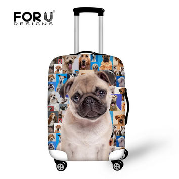 Cute pug dog protective cover for travel luggage suitcase stretchable waterproof luggage cover suit for 18-30 inch luggage set