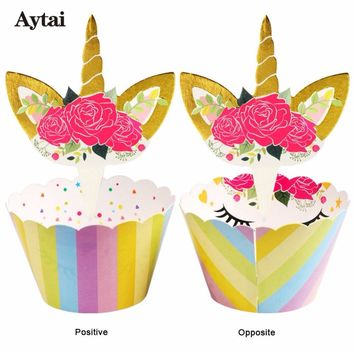 Aytai unicorn cupcake topper rainbow unicorn party baby shower Theme birthday party 24pcs wrappers+24pcs toppers