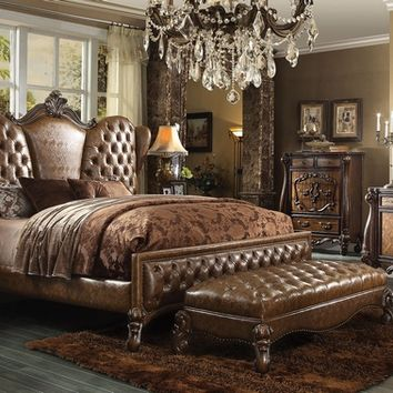 5 pc versailles ii collection cherry oak finish wood queen bedroom set with decorative carvings and tufted designs
