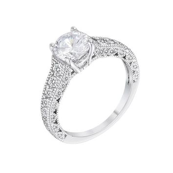 Olivia - Women's Rhodium Plated 1.55 CT Antique CZ Pave Ring