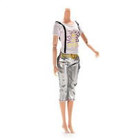 2 Pcs/set Handmake Shirt Tight Pant for Barbies Best Gift Doll Accessories W11