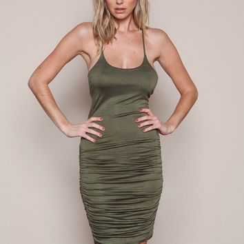 Streetstyle  Casual Army Green Cross Back Tie Back Cut Out Ruched Mini Dress