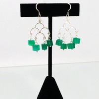 Green earrings, chandelier earrings, onyx cube earrings, sterling earrings, UK shop