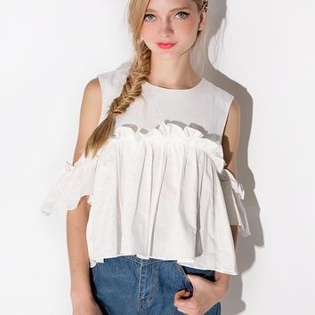 Mia Ruffled Cut Out Shoulder Top