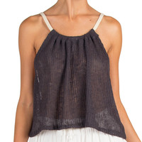 Cord Strap Knit Top - Gray