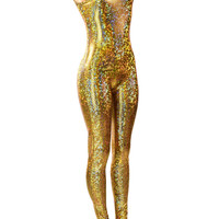 Glittering Gold Mermaid Dragon Scale Onsie Catsuit