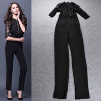 Black Sheer Mesh Grid Knit Elastic Waist Jumpsuit