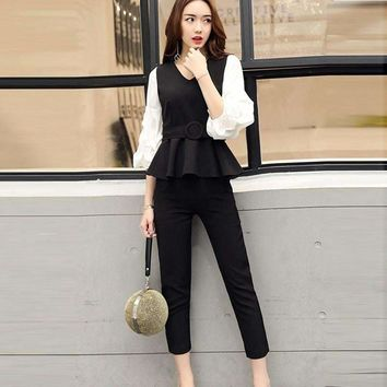 2018 Fashion Women Business Suits Formal Office Strench Suits Work Uniform Designs Women Top and Cropped Pant 2 Piece Set
