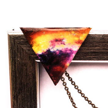 Galaxy collar brooch, Collar brooch, Galaxy brooch, Triangle brooch, Triangle jewelry, Space jewelry, Universe brooch, Galaxy jewelry