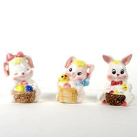 Vintage Easter Bunny Figurines - 3 Porcelain Rabbits - Home Decor Cute Adorable Collectibles for a Baby Nursery, Child's Room each 2.5 x 4
