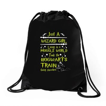 Just A Wizard Girl Living In A Muggle World Drawstring Bags
