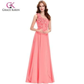 Grace Karin Elegant Long Evening Dresses Pink White Turquoise 2017 new arrival One Shoulder Chiffon Formal Gowns Dresses 4526