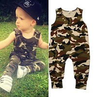 Army Green Cute Sunsuit Outfits Baby Boy Clothes Set
