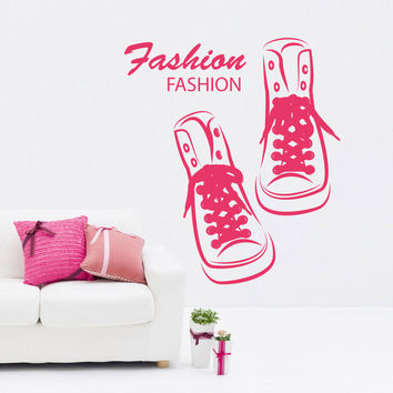 Wall Decal Vinyl Sticker Art Decor sneakers shoes fashion clothes shopping girl image beautifully stylish room nursery showcase (i118)