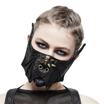 CREY6F Steampunk Black Leather Mask Women Men Mortorcycle Rivet Face Mask Wings Design Adjustable Winter Cycling Mask