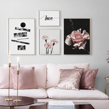 Pink Flower Love Quotes Wall Art Canvas Painting Pop Art Nordic Posters And Prints Wall Pictures For Living Room Bedroom Decor