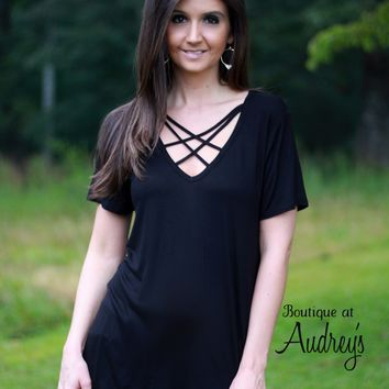 Soft Black Knit Top with Caged Neckline