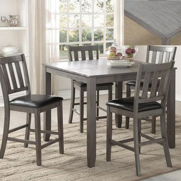 Crown mark CM2761SET-GY 5 pc Cosgrove grey finish wood top counter height dining table set
