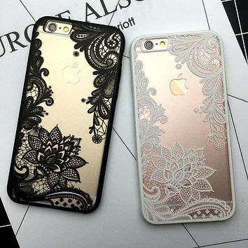 Kerzzil Flower Lace Full edge Protection Mandala Vintage Case For iPhone 7 6 6S Plus 5 5s SE Phone Back Cover For iPhone 6 7 6S 1