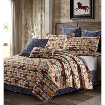 Beige Wild and Free Western Horses Quilt Bedspread - 3 Piece Set