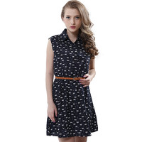Summer fashion new women shirts dress Cat footprints pattern Show thin Shirt dress casual dresses with Belt -0331