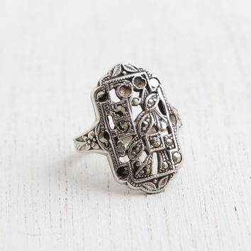 Antique Genuine Art Deco Sterling Silver Marcasite Ring - Vintage 1930s Rectangle Shield Jewelry / Floral Shoulders
