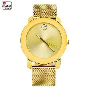 Jewelry Kay style Men's Fashion 14K Gold Plated Luxury Metal Mesh Band Watches WM 8152 G
