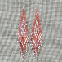 Native American Earrings Inspired. White and Peach Earrings. Geometric Dangle Long Earrings. Beadwork