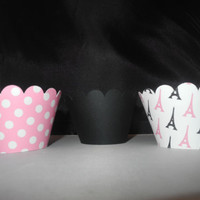 Paris Eiffel Tower Girl Cupcake Wrappers  Set of 12 Black and Pink
