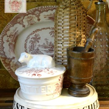 VERY RARE Figural Cow Topped BUTTER Tub / Dish Charlotte Red Transferware