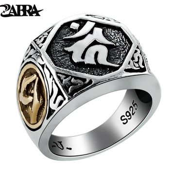 ZABRA Real 925 Sterling Silver Mens Signet Rings Buddha Ring Gold Big Vintage Punk Steampunk Rock Biker Men Silver Jewelry