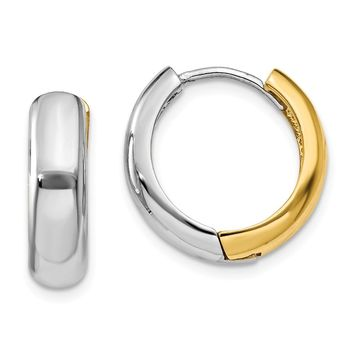 14k Yellow and White Gold Two-tone Huggie Earrings Length 11mm