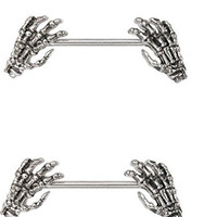 Skeleton Hands Skull 14g Nipple Bars Barbells Rings - Sold as a Pair
