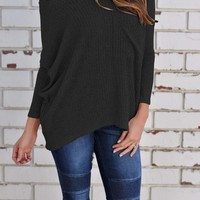 Black Off the shoulder Long Sleeve Shirt