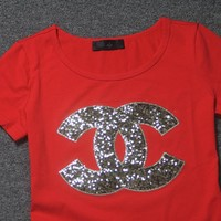 """""""Chanel"""" Women Casual Fashion Sequins Letter Logo Embroidery Short Sleeve T-shirt Tops"""