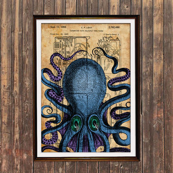 Octopus poster Patent print Sealife print Steampunk decor SOL37