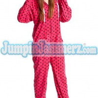 Pink Diva Dots - Hooded Footed Pajamas - Pajamas Footie PJs Onesuits One Piece Adult Pajamas - JumpinJammerz.com