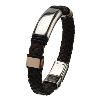Inox Jewelry Men's Brown Braided Leather Stainless Steel Bracelet