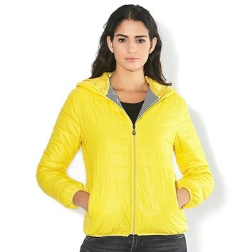 Solid Color Zipper Hooded Parka for Women