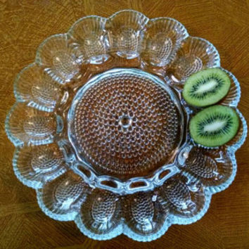 Vintage Clear Hobnail Pressed Glass Deviled Egg Platter, Egg Dish, Serving Dish