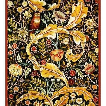 William Morris Acanthus Leaves Owl Counted Cross Stitch or Counted Needlepoint Pattern