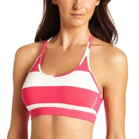 Reebok Women's Studio Stripe Short Bra Top, Candy Pink/VIP White, X-Large