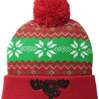 Christmas Vacation Men's National Lampoon's Intarsia Knit Pom Beanie, Red, One Size