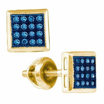 10k Gold Women's Blue Diamond Square Cluster Screwback Stud Earrings - FREE Shipping (US/CA)