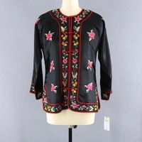 Vintage 1980s Embroidered Chinese Satin Jacket