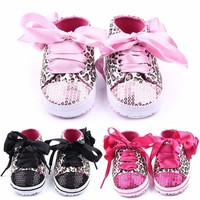 Kids Baby Girls Soft Sole Leopard Lace-up Sneakers Toddler Baby Shoes Prewalkers